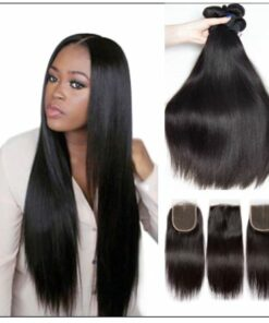 brazilian straight hair bundles with closure img 1