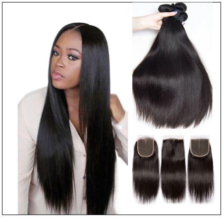 brazilian straight hair bundles with closure img 1