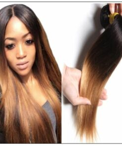 1 Bundle 3 Tone Ombre Straight Virgin Hair Weaving Remy Hair img 1-min