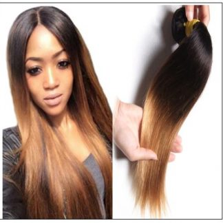 1 Bundle 3 Tone Ombre Straight Virgin Hair Weaving Remy Hair img 1-min