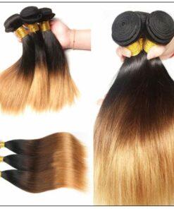 1 Bundle 3 Tone Ombre Straight Virgin Hair Weaving Remy Hair img 3-min