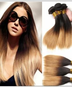 3 Bundle Brazilian Ombre Straight Premium Human Hair Weave img-min