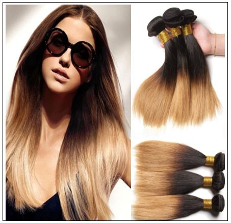 3 Bundle Brazilian Ombre Straight Premium Human Hair Weave img-min