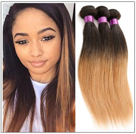 3 Bundles Brazilian Ombre Straight Hair Weave img-min