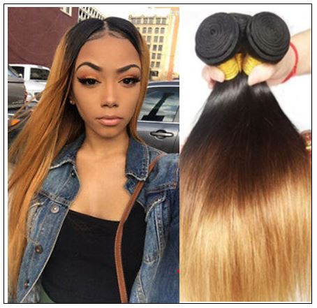 3 Bundles Malaysian Ombre Straight Human Virgin hair img-min