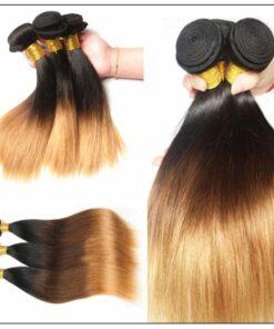 3 Bundles Straight Hair Weaves Ombre Human Hair Weft img 2-min