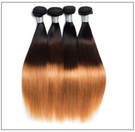 3 Bundles Straight Hair Weaves Ombre Human Hair Weft img 3-min