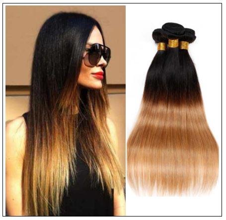 3 Bundles Straight Hair Weaves Ombre Human Hair Weft img-min
