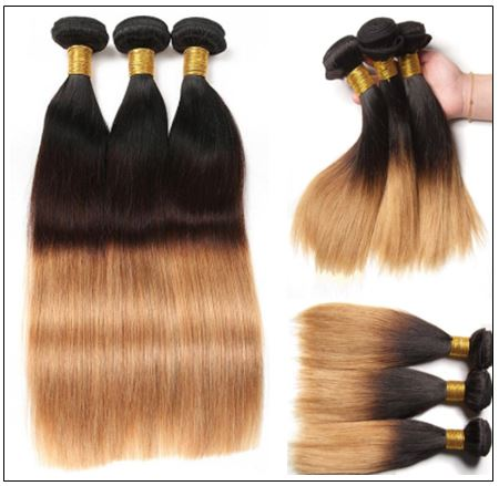 3 Bundles Unprocessed Indian Ombre Straight Human Virgin Hair img 2-min