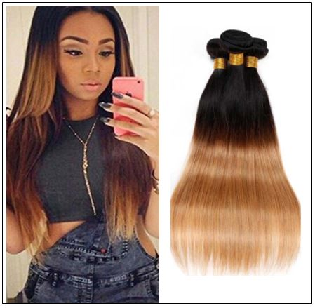 3 Bundles Unprocessed Indian Ombre Straight Human Virgin Hair img-min