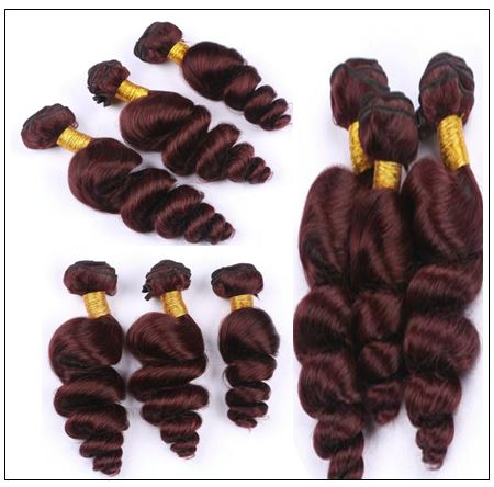 99J Loose Wave Wine Red Wavy Human Hair Weave img 4-min
