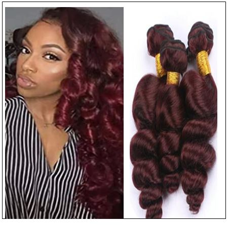 99J Loose Wave Wine Red Wavy Human Hair Weave img-min