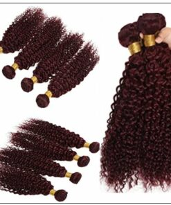 99J Red Wine Color Jerry Curly Wave 100% Virgin Remy Hair img 3-min