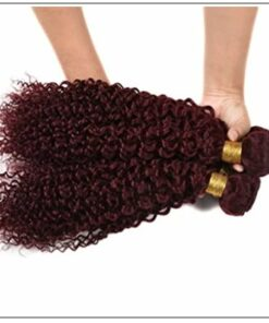 99J Red Wine Color Jerry Curly Wave 100% Virgin Remy Hair img 4-min