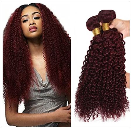 99J Red Wine Color Jerry Curly Wave 100% Virgin Remy Hair img-min