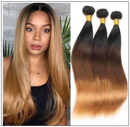 Brazilian 3 Bundles Tone Ombre Straight Hair Weave Remy Hair img-min