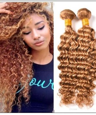 Honey Blonde Deep Wave Hair Weave img-min