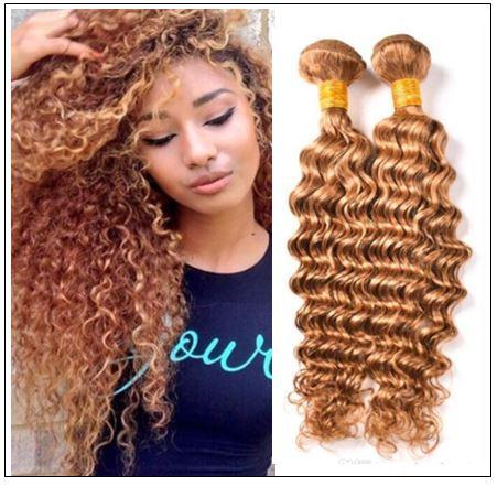 Honey Blonde Deep Wave Hair Weave img-min