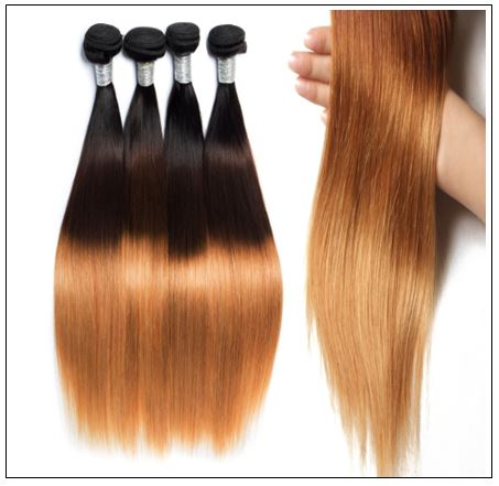 Malaysian 3 Bundles 3 Tones Straight Hair Ombre Hair Weaving img 4-min