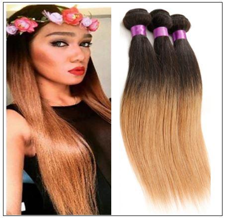 Malaysian 3 Bundles 3 Tones Straight Hair Ombre Hair Weaving img-min
