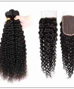Brazilian Kinky Curly With Closure Hair Extensions img 3-min