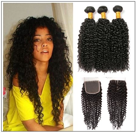 Brazilian Kinky Curly With Closure Hair Extensions img-min