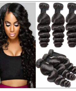 Brazilian Natural Loose Wave Virgin Weft Hair Extensions img-min