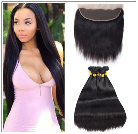 Brazilian Straight Frontal Closure Hair Weave img-min