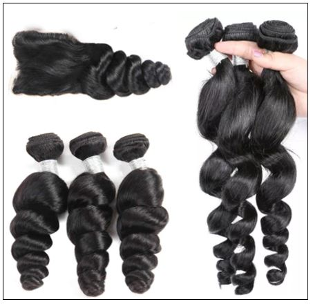100% Peruvian Loose Wave 3pcs Virgin Hair With Closure img 2-min