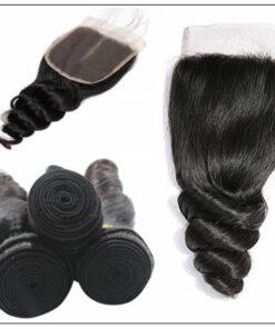 100% Peruvian Loose Wave 3pcs Virgin Hair With Closure img 3-min