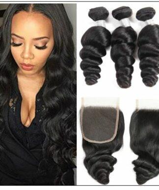 100% Peruvian Loose Wave 3pcs Virgin Hair With Closure img
