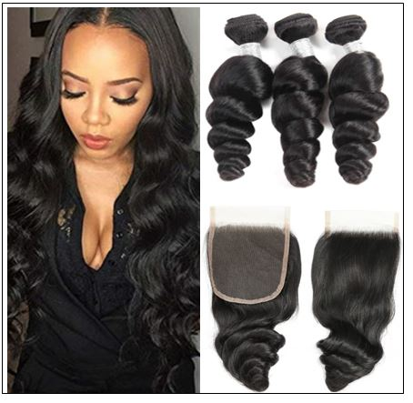 100% Peruvian Loose Wave 3pcs Virgin Hair With Closure img