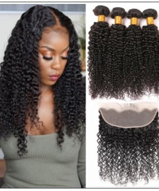 100% Virgin Hair Kinky Curly 3 Pcs With 13×4 Frontal IMG-min