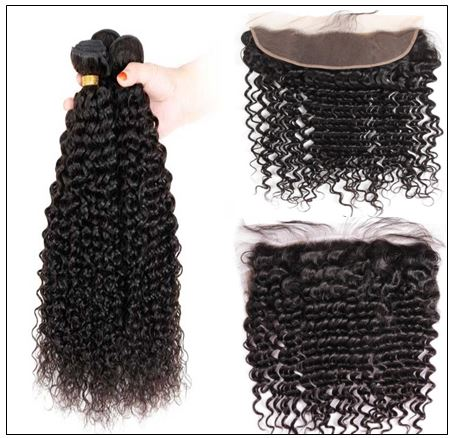 100% Virgin Hair Kinky Curly 3 Pcs With 13×4 Frontal img 3-min