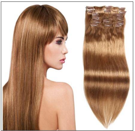 #12 Light Brown Virgin Hair Extensions Clip In Hair img-min-min