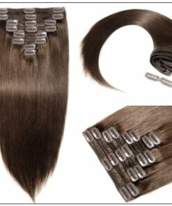 #2 Dark Brown Clip In Hair Extensions Virgin Hair img 2-min