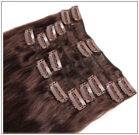 #2 Dark Brown Clip In Hair Extensions Virgin Hair img 3-min