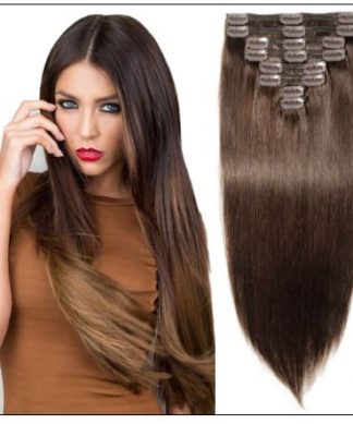 #2 Dark Brown Clip In Hair Extensions Virgin Hair img-min