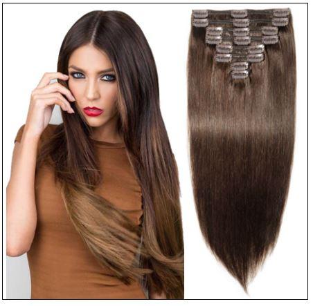 #2 Dark Brown Clip In Hair Extensions Virgin Hair img-min