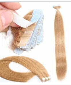 #27 strawberry blonde straight tape in hair extension 100% virgin hair img 2-min