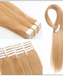 #27 strawberry blonde straight tape in hair extension 100% virgin hair img 3-min