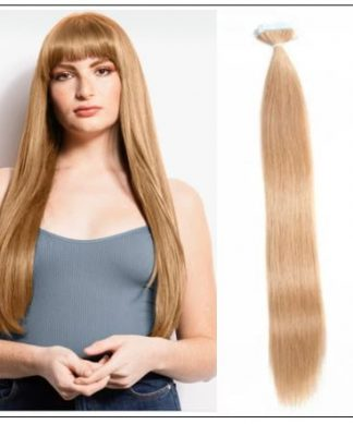 #27 strawberry blonde straight tape in hair extension 100% virgin hair img-min