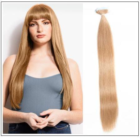 #27 strawberry blonde straight tape in hair extension 100% virgin hair img-min