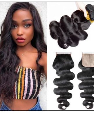3 Bundles Body Wave With 4x4 Fake Scalp Closure Virgin Hair Natural Color img-min