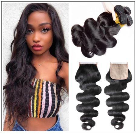 3 Bundles Body Wave With 4x4 Fake Scalp Closure Virgin Hair Natural Color img-min