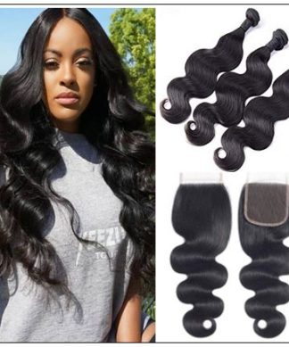 3 Bundles Brazilian Body Wave With Lace Closure img-min