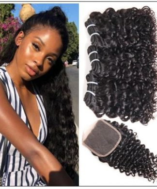 3 Bundles Brazilian Water Wave Virgin Hair Extension With Closure IMG-min