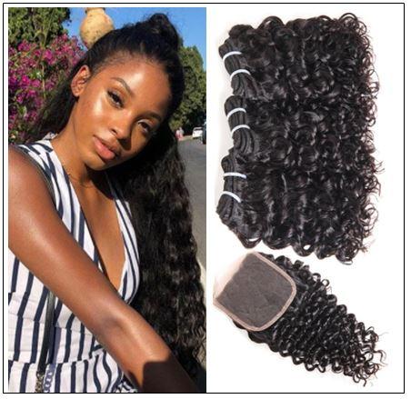 3 Bundles Brazilian Water Wave Virgin Hair Extension With Closure IMG-min
