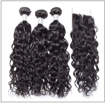 3 Bundles Indian Water Wave 100% Virgin Human Hair With 4×4 Lace Closure IMG 4-min