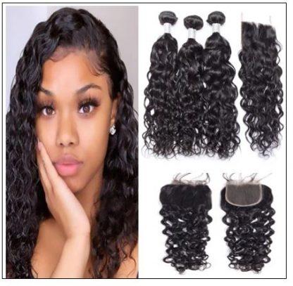 3 Bundles Indian Water Wave 100% Virgin Human Hair With 4×4 Lace Closure IMG-min